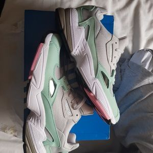 bianca and gold adidas falcon